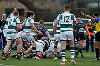 Nottingham Rugby FC press for the try line during the Championship Cup Quarter Final match between Ealing Trailfinders and Nottingham Rugby at Castle Bar , West Ealing , England  on 2 February 2019. Photo by Carlton Myrie / PRiME Media Images.