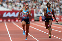 Dafne Schippers of Netherlands and /Blessing Okagbare-Ighoteguonor of Nigeria compete in the womenís 100 metres during the Muller Anniversary Games at The London Stadium on 9th July 2017