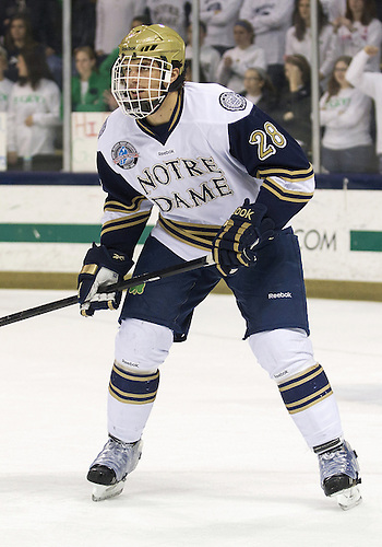 December 07, 2012:  Notre Dame defenseman Stephen Johns (#28) defends during NCAA Hockey game action between the Notre Dame Fighting Irish and the Michigan State Spartans at Compton Family Ice Arena in South Bend, Indiana.  Notre Dame defeated Michigan State 3-2.