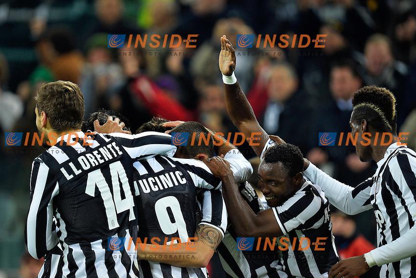 Esultanza Mirko Vucinic (2L) Juventus dopo il gol. Goal celebration <br /> Torino 05-01-2014 Juventus Stadium - Football Calcio Serie A 2013/2014 Juventus - As Roma Foto Andrea Staccioli / Insidefoto