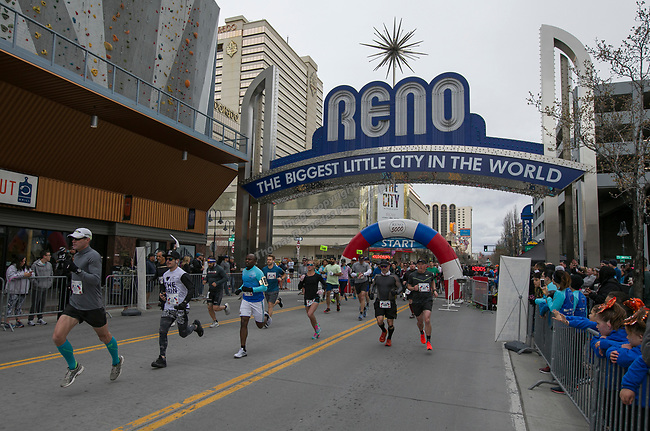 The start of the Half Marathon race during the 6th Annual Reno 5000 Downtown River Run on Saturday, April 6, 2019.