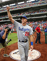 PHILADELPHIA, PA - JULY 25: Chase Utley #26 of the Los Angeles Dodgers acknowledges the fans for supporting him during his career as a Philadelphia Phillie after a game against the Philadelphia Phillies at Citizens Bank Park on July 25, 2018 in Philadelphia, Pennsylvania. The Phillies won 7-3. (Photo by Hunter Martin/Getty Images) *** Local Caption *** Chase Utley