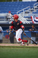 Batavia Muckdogs second baseman J.C. Millan (4) hits a single during a game against the West Virginia Black Bears on June 25, 2017 at Dwyer Stadium in Batavia, New York.  Batavia defeated West Virginia 4-1 in nine innings of a scheduled seven inning game.  (Mike Janes/Four Seam Images)