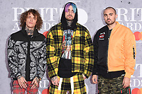 LONDON, UK. February 20, 2019: Cheat Codes - Trevor Dahl, Kevin Ford, & Matthew Russell - arriving for the BRIT Awards 2019 at the O2 Arena, London.<br /> Picture: Steve Vas/Featureflash<br /> *** EDITORIAL USE ONLY ***
