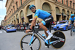 Astana Pro Team riders head out for a practice run before Stage 1 of the 2019 Giro d'Italia, an individual time trial running 8km from Bologna to the Sanctuary of San Luca, Bologna, Italy. 11th May 2019.<br /> Picture: Eoin Clarke | Cyclefile<br /> <br /> All photos usage must carry mandatory copyright credit (© Cyclefile | Eoin Clarke)