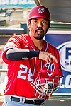 29 February 2020: Washington Nationals catcher Kurt Suzuki dons his gear prior to a Spring Training game against the St. Louis Cardinals at Roger Dean Stadium in Jupiter, Florida. The Cardinals defeated the Nationals 6-3 in Grapefruit League play. Mandatory Credit: Ed Wolfstein Photo *** RAW (NEF) Image File Available ***