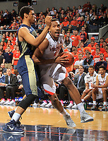 Virginia forward Darion Atkins (5) during the game Jan. 22, 2015, in Charlottesville, Va. Virginia defeated Georgia Tech 57-28.