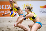 05.01.2019, Den Haag, Sportcampus Zuiderpark<br />Beachvolleyball, FIVB World Tour, 2019 DELA Beach Open<br /><br />Sandra Ittlinger (#2 GER), Annahme Kim Behrens (#1 GER)<br /><br />  Foto © nordphoto / Kurth
