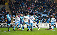 Adebayo Akinfenwa of Wycombe Wanderers scores his goal during the The Checkatrade Trophy - EFL Trophy Semi Final match between Coventry City and Wycombe Wanderers at the Ricoh Arena, Coventry, England on 7 February 2017. Photo by Andy Rowland.