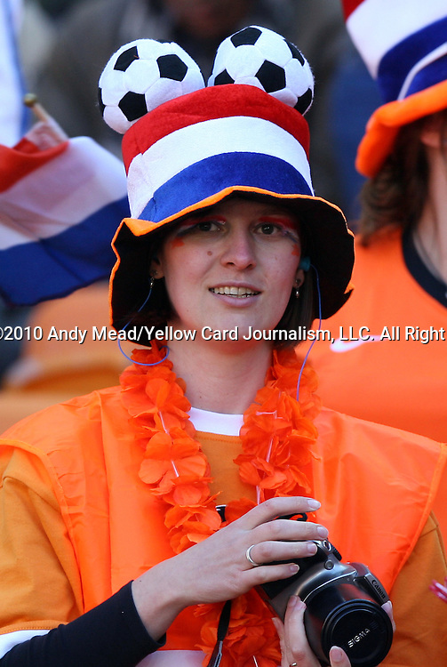 14 JUN 2010:  Dutch fan in the stands.  The Netherlands National Team played the Denmark National Team at Soccer City Stadium in Johannesburg, South Africa in a 2010 FIFA World Cup Group E match.