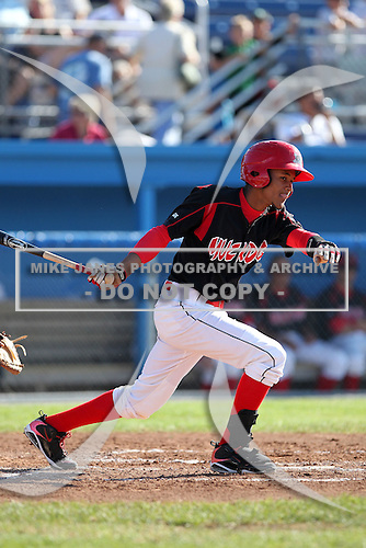 Batavia Muckdogs shortstop Yunier Castillo (7) during the first game of a double header vs. the Connecticut Tigers at Dwyer Stadium in Batavia, New York July 10, 2010.   Batavia defeated Connecticut 5-3.  Photo By Mike Janes/Four Seam Images