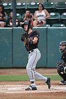 Connor Kopach (7) of the Modesto Nuts bats against the Visalia Rawhide at Recreation Ballpark on June 10, 2019 in Visalia, California. (Larry Goren/Four Seam Images)