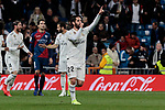 Real Madrid's Francisco Alarcon 'Isco' celebrates goal during La Liga match between Real Madrid and SD Huesca at Santiago Bernabeu Stadium in Madrid, Spain.March 31, 2019. (ALTERPHOTOS/A. Perez Meca)