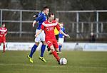 2018-03-11 / Voetbal / Seizoen 2017-2018 / VC Herentals - KFC Nijlen / Gianni Convalle (Herentals) met Yens Peeters in de rug<br /> <br /> ,Foto: Mpics.be