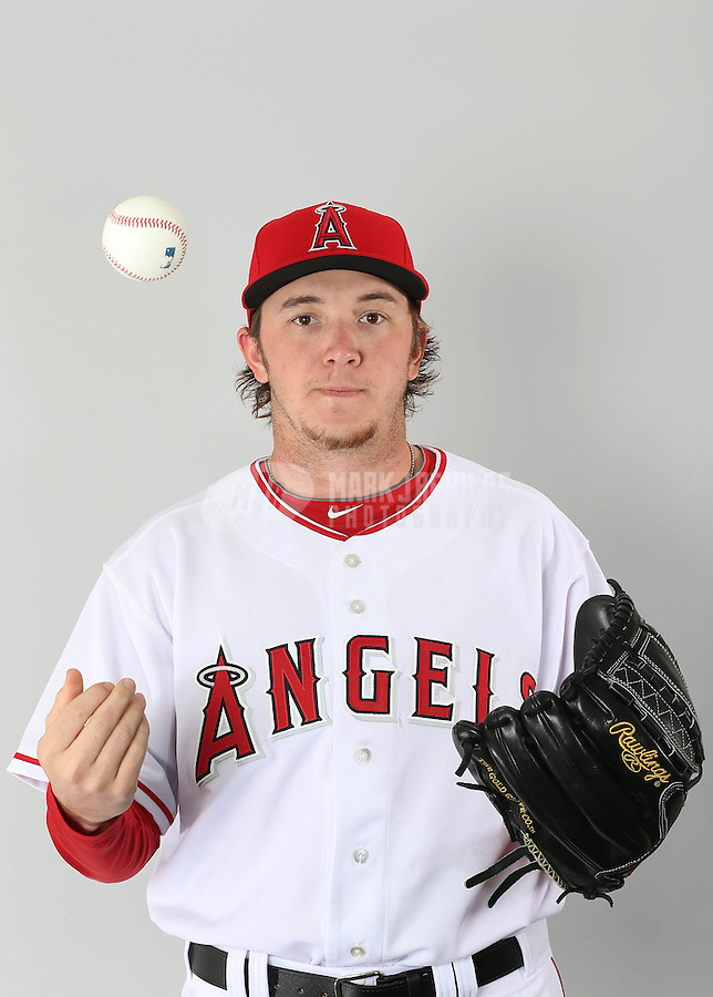 Feb. 21, 2113; Tempe, AZ, USA: Los Angeles Angels pitcher A.J. Schugel poses for a portrait during photo day at Tempe Diablo Stadium. Mandatory Credit: Mark J. Rebilas-