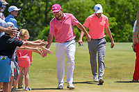 Stephan Jaeger (GER) high fives fans enroute to the tee on 8 during round 4 of the AT&T Byron Nelson, Trinity Forest Golf Club, Dallas, Texas, USA. 5/12/2019.<br /> Picture: Golffile   Ken Murray<br /> <br /> <br /> All photo usage must carry mandatory copyright credit (© Golffile   Ken Murray)