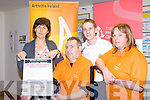 ARTHRITIS IRELAND: Launching the Osteo-Arthriris A Natural Remedy free public information talk to be held on Wednesday 26th of October at 8:00pm at the Brandon hotel, Tralee l-r: Anne Darcy (All Therapy Centre, Tralee), Tom Barrett (Kerry Branch Arthritis Ireland), Derek Griffin (Tralee Physiotherapy Centre/ University of Limerick) and Caroline Kennedy (Kerry Branch Arthritis Ireland).