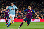 David Costas Cordal of RC Celta de Vigo (L) fights for the ball with Luis Alberto Suarez Diaz of FC Barcelona during the La Liga 2018-19 match between FC Barcelona and RC Celta de Vigo at Camp Nou on 22 December 2018 in Barcelona, Spain. Photo by Vicens Gimenez / Power Sport Images