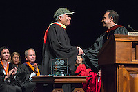 Jorge Gonzalez, VP for Academic Affairs and Dean of the College presents the Graham L. Sterling Memorial Award to UEPI Professor Robert Gottlieb. Occidental College welcomes incoming first-year students during Convocation, the formal gathering that marks the beginning of the academic year, August 27, 2014 in Thorne Hall. (Photo by Marc Campos, Occidental College Photographer)