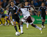Santa Clara, California - Saturday August 25th, 2012: Colorado Rapids' Luis Zapata dribbling during a game against San Jose Earthquakes at Buck Shaw Stadium, Stanford, Ca    San Jose Earthquakes defeated Colorado Rapids 4 - 1