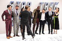 "Zachary Quinto, Karl Urban, Sofia Boudella, John Cho, Idris Alba, director, Justin Lin, Simon Pegg, Lydia Wilson and Chris Pine<br /> arrives for the ""Star Trek Beyond"" premiere at the Empire Leicester Square, London.<br /> <br /> <br /> ©Ash Knotek  D3140  12/07/2016"