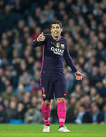 Luis Suarez of Barcelona during the UEFA Champions League match between Manchester City and Barcelona at the Etihad Stadium, Manchester, England on 1 November 2016. Photo by Andy Rowland / PRiME Media Images.