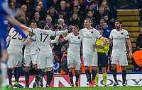 Celebrations as Adrien Rabiot (25) of Paris Saint-Germain scores the opening goal during the UEFA Champions League Round of 16 2nd leg match between Chelsea and PSG at Stamford Bridge, London, England on 9 March 2016. Photo by Andy Rowland.