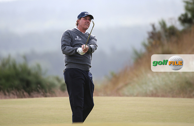 Phil Mickelson (USA) during Round Two of the 2016 Aberdeen Asset Management Scottish Open, played at Castle Stuart Golf Club, Inverness, Scotland. 08/07/2016. Picture: David Lloyd | Golffile.<br /> <br /> All photos usage must carry mandatory copyright credit (&copy; Golffile | David Lloyd)