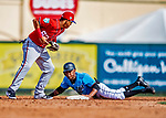 1 March 2019: Miami Marlins center fielder Magneuris Sierra steals second during a Spring Training game against the Washington Nationals at Roger Dean Stadium in Jupiter, Florida. The Nationals defeated the Marlins 5-4 in Grapefruit League play. Mandatory Credit: Ed Wolfstein Photo *** RAW (NEF) Image File Available ***