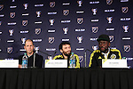 04 December 2015: From left: Columbus head coach Gregg Berhalter with Michael Parkhurst and Kei Kamara (SLE). Major League Soccer held a press conference two days before MLS Cup 2015 between the Portland Timbers FC and Columbus Crew SC. The Press Conference was held at the Greater Columbus Convention Center in Columbus, Ohio.