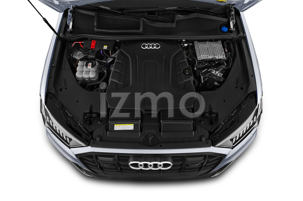 Car Stock 2020 Audi Q7 S-Line 5 Door SUV Engine  high angle detail view
