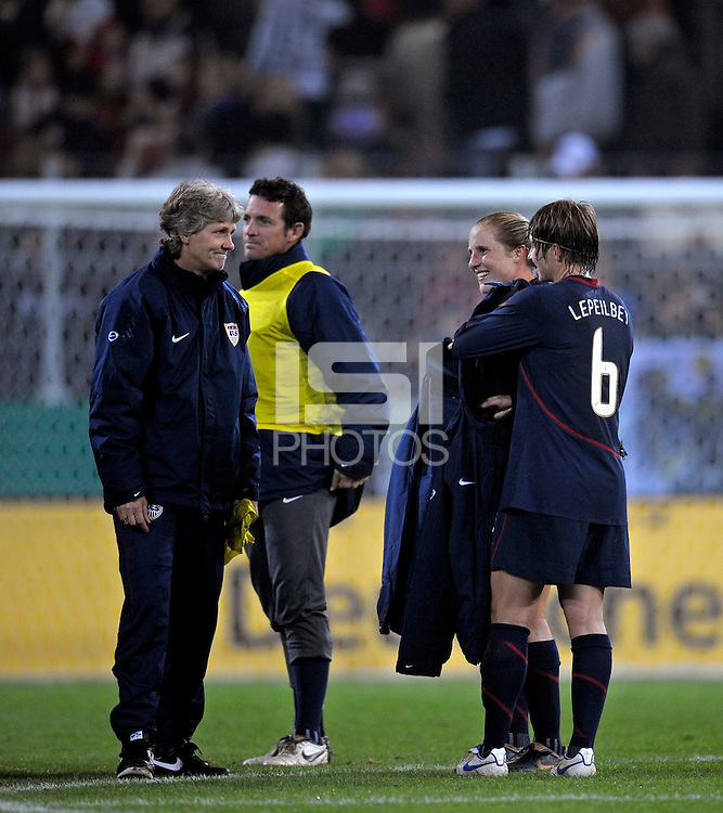 Pia Sundhage. US Women's National Team defeated Germany 1-0 at Impuls Arena in Augsburg, Germany on October 29, 2009.