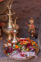 Bhaktapur, Nepal.  Tray of Offerings at a Neighborhood Hindu Shrine.
