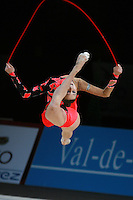 Liubov Charkashina of Belarus split leaps with rope at 2007 Thiais Grand Prix near Paris, France on March 25, 2007.