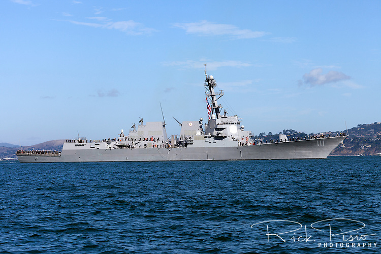 The Arleigh Burke-class guided-missile destroyer USS Spruance (DDG 111) on San Francisco Bay. The Spruance was commissioned on October 1st, 2011 and is the 61st Arleigh Burke class destroyer.