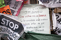 Protesters occupy Bankia headquarters in Madrid since 78 days.