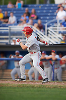 Auburn Doubledays left fielder Jonathan Pryor (7) grounds into an RBI fielders choice during a game against the Batavia Muckdogs on July 6, 2017 at Dwyer Stadium in Batavia, New York.  Auburn defeated Batavia 4-3.  (Mike Janes/Four Seam Images)