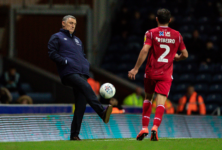 Blackburn Rovers' manager Tony Mowbray controls the ball as Nottingham Forest's Yuri Ribeiro (right) looks on <br /> <br /> Photographer Andrew Kearns/CameraSport<br /> <br /> The EFL Sky Bet Championship - Blackburn Rovers v Nottingham Forest - Tuesday 1st October 2019  - Ewood Park - Blackburn<br /> <br /> World Copyright © 2019 CameraSport. All rights reserved. 43 Linden Ave. Countesthorpe. Leicester. England. LE8 5PG - Tel: +44 (0) 116 277 4147 - admin@camerasport.com - www.camerasport.com