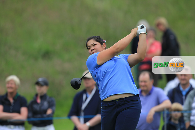 Bethany Wu on the 6th tee during the Friday afternoon Fourballs of the 2016 Curtis Cup at Dun Laoghaire Golf Club on Friday 10th June 2016.<br /> Picture:  Golffile | Thos Caffrey
