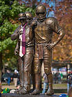 Oct 11, 2014; The Lou Holtz statue outside ND Stadium sports neckties. (Photo by Matt Cashore)