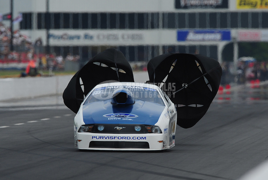 May 13, 2011; Commerce, GA, USA: NHRA pro stock driver Robert Patrick Jr during qualifying for the Southern Nationals at Atlanta Dragway. Mandatory Credit: Mark J. Rebilas-