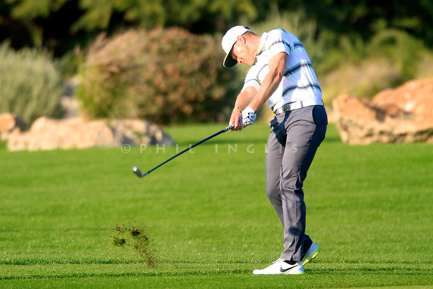 Oliver Fisher (ENG) in action during the final round of the Commercial Bank Qatar Masters played at Doha Golf Club, Doha, Qatar. 21-24 January 2015 (Picture Credit / Phil Inglis)