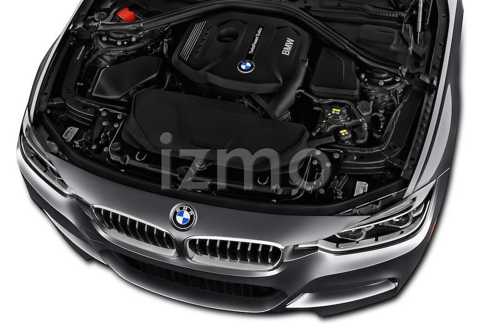 Car Stock 2016 BMW 3-Series 328i-xDrive-Sports-Wagon 5 Door Wagon Engine  high angle detail view