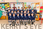 First day of school for Junior Infants at Kilcummin NS. Front l-r Gracie Maher, Michael O'Connor, Sarah Mc Cormack, Alex Lawlor, Ali O'Leary, Jerry Gallivan and Catriona Blake, centre l-r Charlie Meehan, Emma Wolfe, Annmarie O'Sullivan, Ciara O'Leary, Ruby Kyle, Hollie O'Sullivan, Nera Goles and Aidan McGuire, back l-r Finn Murphy, Mark O'Sullivan, Emmet Bowler, Colm Fleming, Jack Sheahan, Dara Sheahan, Ross Griffin, Conor Doyle and Zach Moynihan pictured with etcher Michael Kelleher (left back), class teacher and principal Gillian Sheehan (center back) and Student teacher Denise Keane (right back).