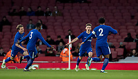 Billy Gilmour of Chelsea U18 celebrates this goal during the FA Youth Cup FINAL 2nd leg match between Arsenal and Chelsea at the Emirates Stadium, London, England on 30 April 2018. Photo by Andy Rowland.