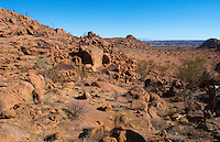 Namibia Africa boulders and desert at Damaraland at resort called Mowani Mountain Camp with beautiful rock formations