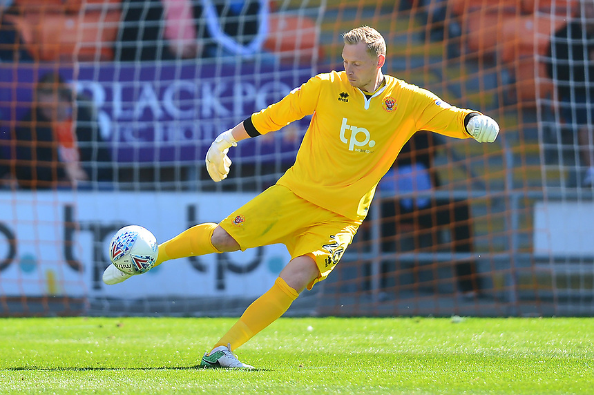 Blackpool's Ryan Allsop in action<br /> <br /> Photographer Richard Martin-Roberts/CameraSport<br /> <br /> The EFL Sky Bet League One - Blackpool v Milton Keynes Dons - Saturday August 12th 2017 - Bloomfield Road - Blackpool<br /> <br /> World Copyright &copy; 2017 CameraSport. All rights reserved. 43 Linden Ave. Countesthorpe. Leicester. England. LE8 5PG - Tel: +44 (0) 116 277 4147 - admin@camerasport.com - www.camerasport.com