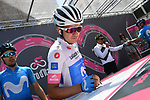 Maglia Bianca Richard Carapaz (ECU) Movistar Team at sign on before the start of Stage 14 of the 2018 Giro d'Italia, running 186km from San Vito al Tagliamento to Monte Zoncolan features Europe's hardest climb, Italy. 19th May 2018.<br /> Picture: LaPresse/Gian Mattia D'Alberto | Cyclefile<br /> <br /> <br /> All photos usage must carry mandatory copyright credit (&copy; Cyclefile | LaPresse/Gian Mattia D'Alberto)