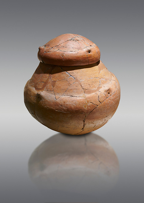 Terra cotta pot and lid from a Bronze Age Grave H (2500 BC - 2250 BC) -  Alacahoyuk - Museum of Anatolian Civilisations, Ankara, Turkey. Against a gray background