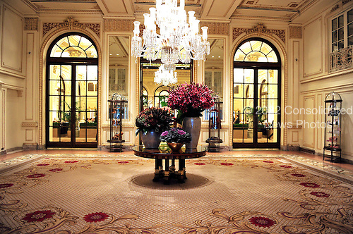 "Fifth Avenue entrance lobby of The Plaza Hotel in New York, New York on Wednesday, October 6, 2010.  The Plaza, which bills itself as ""the crown jewel of Manhattan's fabled Fifth Avenue"" was recently renovated and partially converted to condominiums and retail. .Credit: Ron Sachs / CNP"